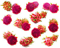 Κόκκινο θρεπτικό αγαθό φρούτων δράκων για την υγεία στο άσπρο υπόβαθρο Στοκ Φωτογραφίες