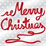 Κόκκινο διάνυσμα Χαρούμενα Χριστούγεννας κορδελλών Στοκ εικόνες με δικαίωμα ελεύθερης χρήσης