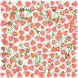 Κόκκινο διανυσματικό άνευ ραφής σχέδιο λουλουδιών Στοκ Εικόνες