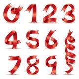 Κόκκινο διανυσματικό σχέδιο αριθμού λέξεων κορδελλών Στοκ Εικόνες