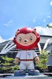 Κόκκινο λιοντάρι Nila μασκότ της Σιγκαπούρης παιχνιδιών ΘΑΛΑΣΣΑΣ Στοκ Εικόνες