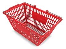 Κόκκινο κάρρο αγορών στο άσπρο υπόβαθρο Στοκ Εικόνα