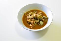 Κόκκινο κάρρυ με το χοιρινό κρέας και τη μελιτζάνα Στοκ Εικόνες