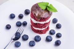 Κόκκινο κέικ βελούδου με τα βακκίνια Η αμερικανική σημαία το επιδόρπιο Στοκ Φωτογραφία