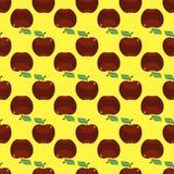 Κόκκινο κίτρινο άνευ ραφής υπόβαθρο σχεδίων της Apple Στοκ Εικόνες
