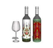 Κόκκινο και άσπρο μπουκάλι κρασιού με το γυαλί Στοκ εικόνα με δικαίωμα ελεύθερης χρήσης