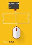 Κόκκινο και άσπρο ποντίκι στη σε απευθείας σύνδεση έννοια εισιτηρίων με την πιστωτική κάρτα, εισιτήριο γραμμών στο επίπεδο σχέδιο Στοκ Εικόνες