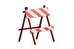 Κόκκινο και άσπρο χρωματισμένο εκλεκτής ποιότητας ξύλινο οδικό φραγμός ή εμπόδιο ως ξύλινο οδόφραγμα πλαισίων με τέσσερα πόδια πο Στοκ φωτογραφία με δικαίωμα ελεύθερης χρήσης