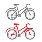 Κόκκινο και γκρίζο ποδήλατο Στοκ φωτογραφία με δικαίωμα ελεύθερης χρήσης