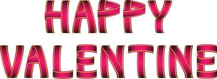 Κόκκινο και κίτρινο ευτυχές κείμενο κορδελλών βαλεντίνων Στοκ φωτογραφίες με δικαίωμα ελεύθερης χρήσης