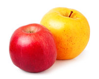 Κόκκινο και κίτρινο μήλο που απομονώνεται σε ένα άσπρο υπόβαθρο Στοκ εικόνα με δικαίωμα ελεύθερης χρήσης