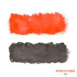 Κόκκινο και μαύρο έμβλημα watercolor Στοκ Φωτογραφίες