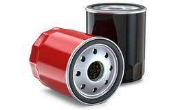 Κόκκινο και μαύρο αυτοκινητικό φίλτρο πετρελαίου Στοκ Φωτογραφία