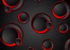 Κόκκινο και μαύρο γεωμετρικό υπόβαθρο τεχνολογίας κύκλων διανυσματική απεικόνιση