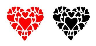 Κόκκινο και μαύρο διάνυσμα συμβόλων αγάπης εικονιδίων βαλεντίνων καρδιών Στοκ Φωτογραφία