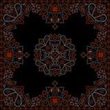 Κόκκινο και μαύρο σχέδιο Bandana με τα λουλούδια και το Paisley Διανυσματικό τετράγωνο τυπωμένων υλών Στοκ Φωτογραφίες