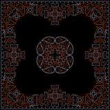 Κόκκινο και μαύρο σχέδιο Bandana με τα λουλούδια και το Paisley Διανυσματικό τετράγωνο τυπωμένων υλών Στοκ φωτογραφίες με δικαίωμα ελεύθερης χρήσης