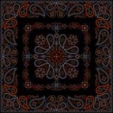 Κόκκινο και μαύρο σχέδιο Bandana με τα λουλούδια και το Paisley Διανυσματικό τετράγωνο τυπωμένων υλών Στοκ Φωτογραφία