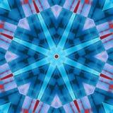 Κόκκινο και μπλε ζωηρόχρωμο μεγάλο στενό γεωμετρικό υφαντικό άνευ ραφής σχέδιο αστεριών απεικόνιση αποθεμάτων