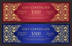 Κόκκινο και μπλε πιστοποιητικό δώρων πολυτέλειας με τον τρύγο Στοκ Εικόνα