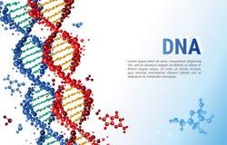 Κόκκινο και μπλε πρότυπο υποβάθρου ακολουθιών DNA για την παρουσίαση, αφίσα, Ιστός περιοδικό απεικόνισης κοριτσιών χρώματος παραλ απεικόνιση αποθεμάτων