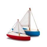 Κόκκινο και μπλε sailboat παιχνιδιών Στοκ Εικόνες
