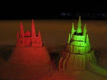 Κόκκινο και πράσινο κάστρο άμμου Στοκ Φωτογραφία