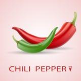 Κόκκινο και πράσινο καυτό διανυσματικό σύνολο πιπεριών τσίλι ελεύθερη απεικόνιση δικαιώματος