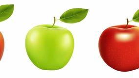 Κόκκινο και πράσινο μήλο σε ένα άσπρο υπόβαθρο σιτηρέσιο ελεύθερη απεικόνιση δικαιώματος