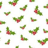 Κόκκινο και πράσινο μούρο ελαιόπρινου στο άσπρο υπόβαθρο άνευ ραφής χειμώνας προτύπ&omega Στοκ Εικόνες
