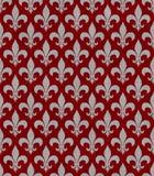 Κόκκινο και υπόβαθρο Gray Fleur de Lis Textured υφάσματος Στοκ φωτογραφία με δικαίωμα ελεύθερης χρήσης