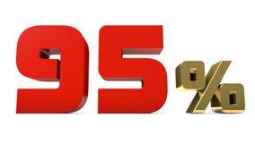 κόκκινο και χρυσό κείμενο τοις εκατό 95% που απομονώνεται στο λευκό Στοκ Εικόνες