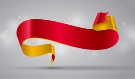 Κόκκινο και χρυσό κορδέλλα ή έμβλημα ελεύθερη απεικόνιση δικαιώματος