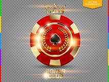 Κόκκινο και χρυσό τσιπ VIP πόκερ με τη διανυσματική διαφάνεια ελαφριάς επίδρασης με το πρόσθετο σχήμα μόνο Στοκ φωτογραφία με δικαίωμα ελεύθερης χρήσης