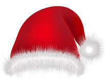 Κόκκινο καπέλο Άγιος Βασίλης στην άσπρη ενδυμασία μασκών διακοπών Χριστουγέννων υποβάθρου Στοκ Εικόνες
