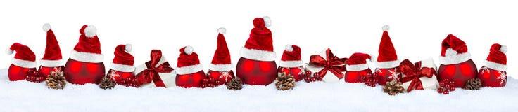 Κόκκινο καπέλο santa σειρών μπιχλιμπιδιών Χριστουγέννων Στοκ Εικόνες