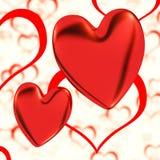 Κόκκινο, καρδιές σε μια ανασκόπηση καρδιών διανυσματική απεικόνιση