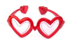 κόκκινο καρδιών γυαλιών Στοκ Φωτογραφίες