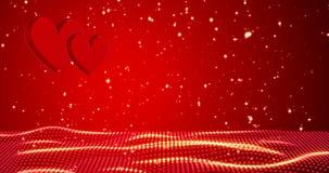 κόκκινο καρδιών ευτυχείς βαλεντίνοι ημέ&rho τρισδιάστατη απόδοση διανυσματική απεικόνιση