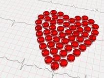 κόκκινο καρδιών ηλεκτροκαρδιογραφημάτων Στοκ εικόνα με δικαίωμα ελεύθερης χρήσης