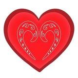 Κόκκινο καρδιών ημέρας βαλεντίνων ` s σε ένα άσπρο σχέδιο υποβάθρου Στοκ Εικόνα
