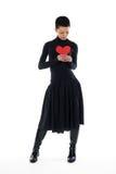 κόκκινο καρδιών κοριτσιών Στοκ Εικόνες