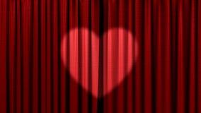 κόκκινο καρδιών κουρτινών Στοκ Φωτογραφίες