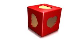 κόκκινο καρδιών κύβων Στοκ Εικόνα