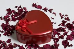 κόκκινο καρδιών μορφής κι&bet Στέκεται σε ένα άσπρο υπόβαθρο, που σκορπίζεται με τα ξηρά ροδαλά πέταλα Στοκ εικόνα με δικαίωμα ελεύθερης χρήσης