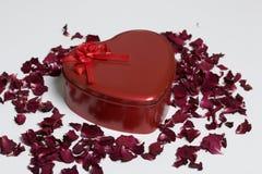 κόκκινο καρδιών μορφής κι&bet Στέκεται σε ένα άσπρο υπόβαθρο, που σκορπίζεται με τα ξηρά ροδαλά πέταλα Στοκ φωτογραφία με δικαίωμα ελεύθερης χρήσης