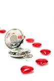 κόκκινο καρδιών ρολογιών Στοκ Φωτογραφία