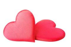 κόκκινο καρδιών υφάσματο&si στοκ φωτογραφία