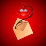 κόκκινο καρδιών φακέλων απεικόνιση αποθεμάτων