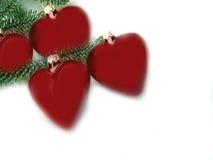 κόκκινο καρδιών Χριστουγέννων Στοκ Εικόνες